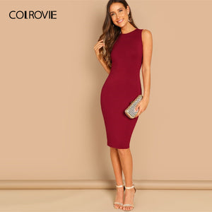 COLROVIE Burgundy Solid Bodycon Slim Tank Workwear Sexy Dress Women 2019 Sleeveless Party Midi Dress Elegant Ladies Dresses