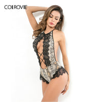 COLROVIE Contrast Lace Backless Criss Cross Snakeskin Print Sexy Lingerie Sleepwear