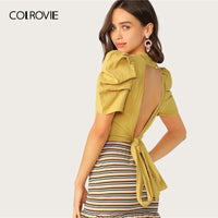 COLROVIE Ginger Puff Sleeve Tied Open Back Textured Crop Womens Tops
