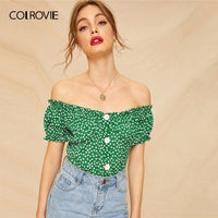 COLROVIE Green Ditsy Floral Button Front Crop Blouse Shirt Womens Clothing