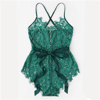 COLROVIE Green Eyelash Ribbon Belted Lace Teddy Bodysuit Women Romper 2019 Navy Female Elegant Bodysuit Maroon Sexy Bodysuits
