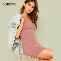 COLROVIE Lettuce Edge Trim Button Ribbed Pink Cami Sexy Dress 2018 Summer Bodycon Dress Elegant Mini Women Dress
