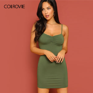 COLROVIE Green Ruched Front Bodycon Mini Cami Dress Women 2019 Sexy Summer Slim Sleeveless Clothing Female Solid Slip Dresses