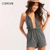 Cross Backless Striped Sexy Romper Short Jumpsuits For Women Summer Sleeveless