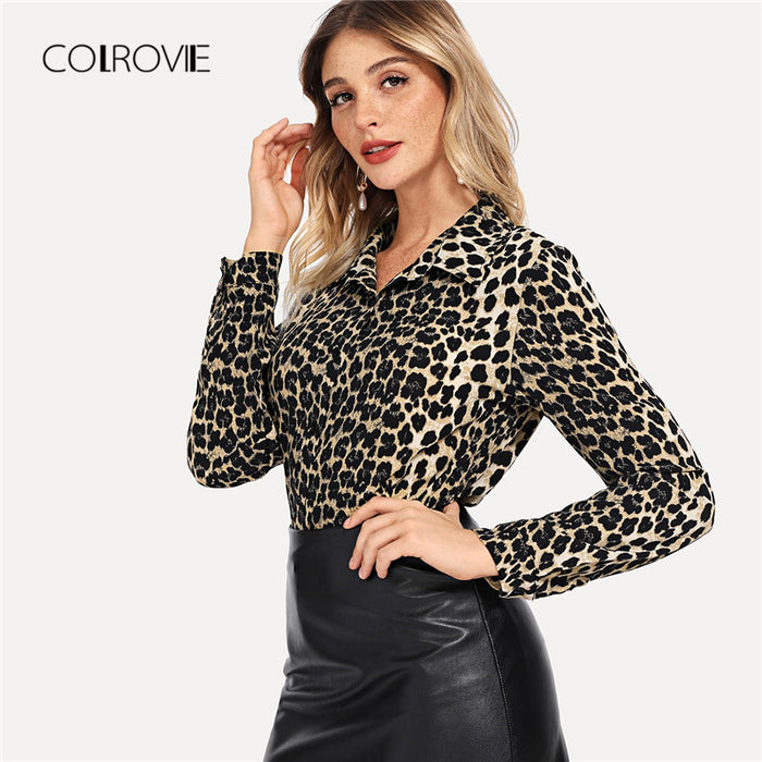 Elegant Blouse Women Autumn Long Sleeve Work Blouse Shirt Fashion Sexy Women