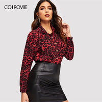 COLROVIE Leopard Print Button Up Office Blouse Women Shirts 2019