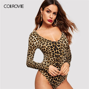 COLROVIE Leopard Print Form Fitting Bodysuit Women Clothing 2019