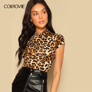 COLROVIE Mock Neck Form Fitted Leopard Print Party Crop T-Shirt
