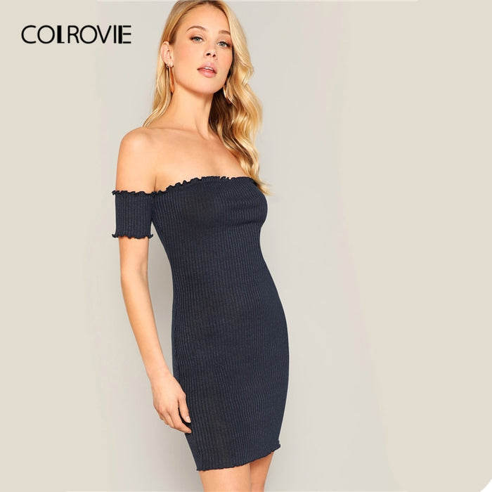 COLROVIE Navy Off the Shoulder Lettuce Trim Ribbed Knit Bodycon Sexy Dress Women 2019 Summer Slim Fit Mini Korean Pencil Dresses