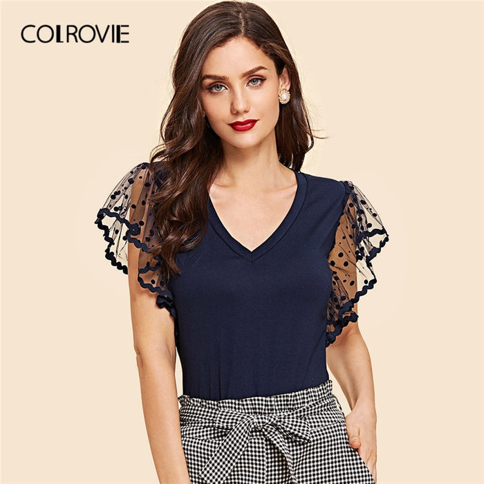 COLROVIE Navy Polka Dot V Neck Form Fitted Ruffle Elegant T-Shirt Women 2019