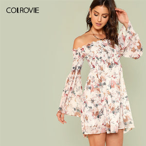 Off Shoulder Flare Sleeve Bardot Smocked Floral Print Shirred Boho Dress