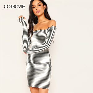 COLROVIE Off the Shoulder Striped Fitted Sheath Mini Dress Women Long Sleeve Backless Bodycon Sexy Dress 2019 Summer Club Dress