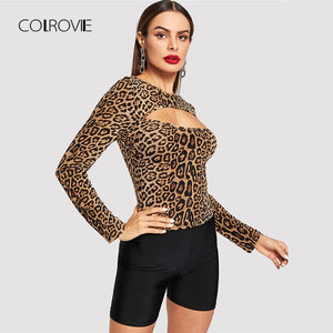 COLROVIE Open Front Leopard Print Fitting Casual T-Shirt Women Clothing 2018 Winter