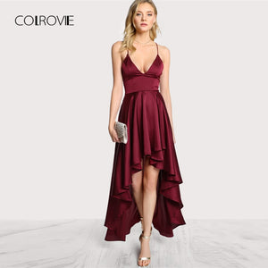 COLROVIE Party Dress Deep V Neck Spaghetti Strap Sleeveless Maxi Dress Asymmetrical Crisscross Backless High Low Cami Dress