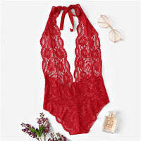 COLROVIE Pink Backless Scalloped Floral Lace Lingerie Teddy Bodysuit Women Red See Through Sexy Onesies For Adults Sleepwear