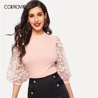 COLROVIE Pink Bishop Sleeve Lace Appliques Elegant T Shirt Women Top Workwear