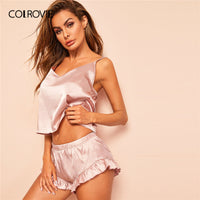 COLROVIE Pink Solid Ruffle Backless Satin Sexy Cami Pajamas Set 2019 Summer Sleeveless Top And Shorts Women Sleepwear