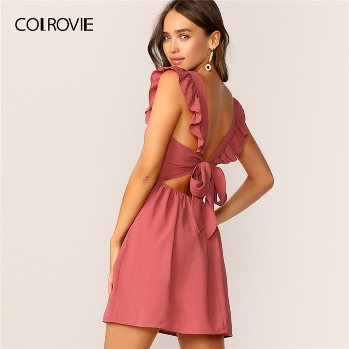 Tie Back Ruffle Strap Fit And Flare Dress Women Summer Boho Sleeveless Ladies