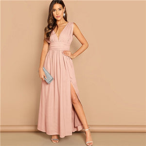 Pink V Neck Ruched Waistband High Split Plunge Pleated Sexy Maxi Dress