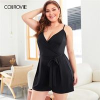 Black Self Tie Solid Sleeveless Cami Romper Women Clothes Summer Casual Overalls