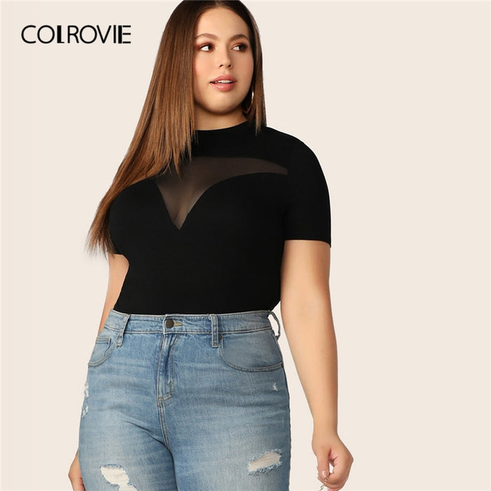 COLROVIE Plus Size Black Sheer Mesh Yoke Form Fitting T Shirt Women Tops 2019 Summer Short Sleeve Office Ladies Tee Shirts