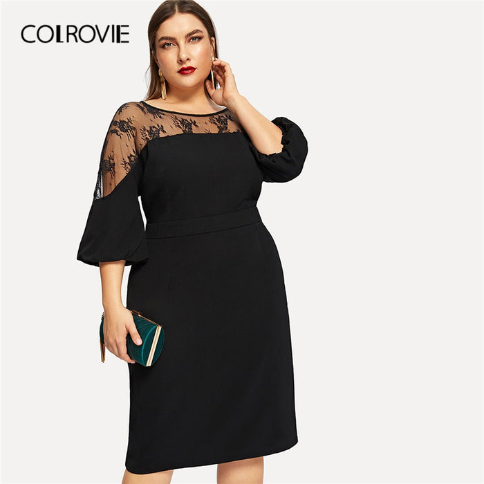 COLROVIE Plus Size Black Solid Contrast Mesh Elegant Dress Women Clothing 2019