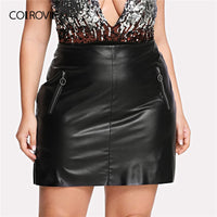 COLROVIE Plus Size Black Solid Zipper Front Faux Leather Glamorous Skirt Women