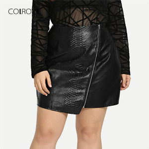 COLROVIE Black Solid Zipper Sexy Leather Skirt Women Female Office A-line Elegant