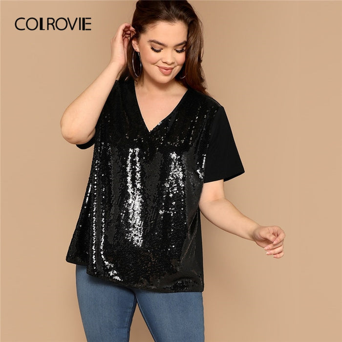 Plus Size Black V Neck Sequin Patch Casual T-Shirt Women Summer Streetwear