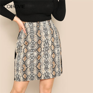 COLROVIE Plus Size Contrast Sideseam Snakeskin Print Sexy Skirt Women 2019