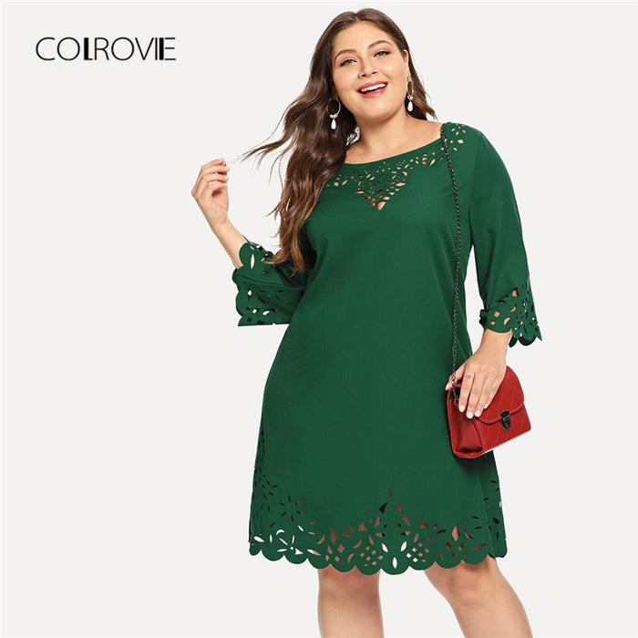 COLROVIE Plus Size Green Solid Elegant Laser Cut Out Swing Lace Dress Women 2018 Autumn Black Half Sleeve Office Mini Dresses