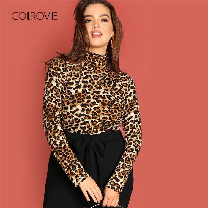 COLROVIE Plus Size Leopard Print Turtleneck Fitting Sexy T-Shirt Women Clothes 2018 Winter Long Sleeve Shirt Ladies Tops Tee