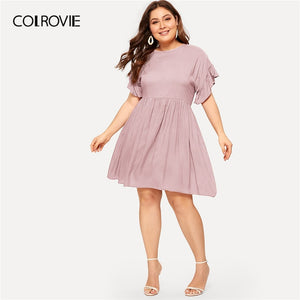COLROVIE Plus Size Pink Solid Ruffle Cuff A Line Elegant Dress Women 2019 Summer Cap Sleeve High Waist Short Dresses For Female