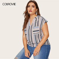 COLROVIE Plus Size Pocket Striped V-Neck Womens Tops And Blouses 2019 Summer Cap Sleeve Casual Clothes Female Fashion Blouse