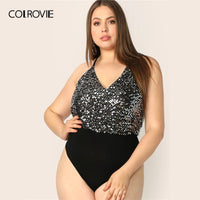 COLROVIE Plus Size Sequin Bodice Backless Halter Sexy Bodysuit Women 2019 Summer Sleeveless Streetwear Club Party Bodysuits