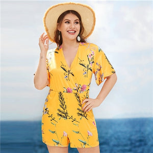 COLROVIE Plus Size Yellow Floral Print V-Neck Romper Women