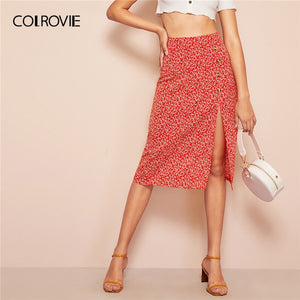 COLROVIE Red Button Slit Front Calico Ditsy Floral Print Boho Midi Skirt Women 2019