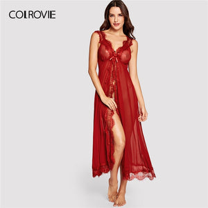 COLROVIE Red Solid V Neck Eyelash Lace Mesh Night Dress With Thong 2019