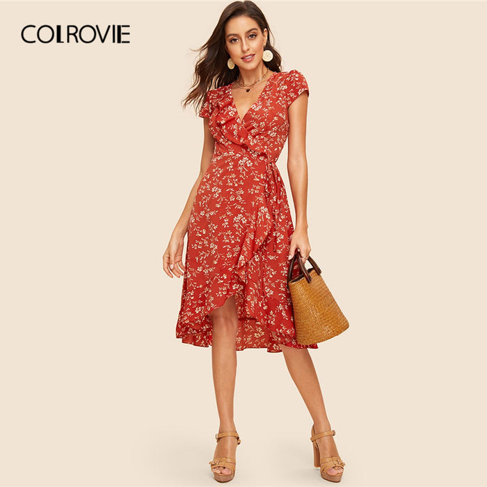 COLROVIE Rust Floral Print Ruffle Trim Wrap Dress Women High Waist Midi Dress