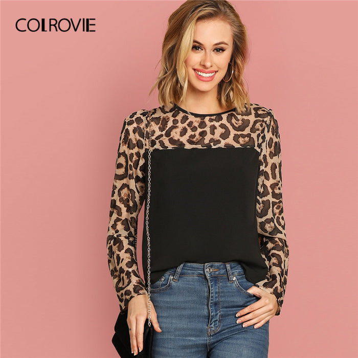 COLROVIE Semi Sheer Leopard Print Yoke Blouse Women Clothing 2019