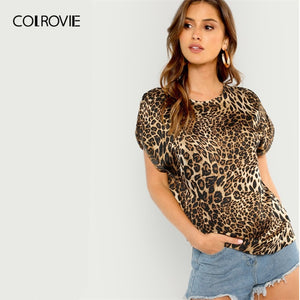 COLROVIE Short Sleeve Leopard Print Casual T-Shirt Women Clothing