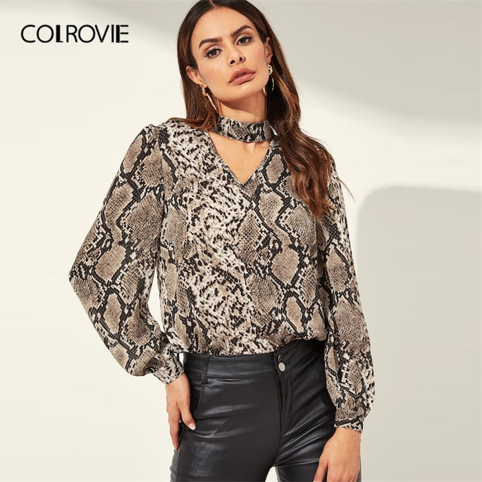 COLROVIE Snake Skin Pattern Cut Out Choker Neck Casual Blouse Women 2019 Spring Fashion Button Elegant Shirt Office Ladies Tops