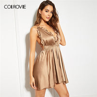COLROVIE Solid Crisscross Back Frill Trim Satin Cami Night Dress Women 2019 Summer Sexy Sleeveless Babydolls Backless Nightgowns