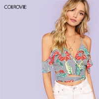 COLROVIE Spaghetti Strap Self Tie Cold Shoulder Wrap Crop Top Women Clothing