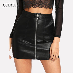 COLROVIE Spring Plain Faux Leather Skirt Black Mid Waist Zip Front Sexy