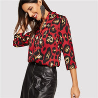 COLROVIE Stand Collar Leopard Print Button Up Blouse Women 2019 Spring Korean Elegant Tops Office Ladies Fashion Vintage Shirts