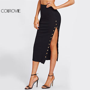 COLROVIE Studs High Slit Sexy Pencil Skirt Women Black Elegant Empire Slim OL Midi