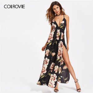 COLROVIE V Neck High Split Cross Back Floral Print Slit Boho Cami Maxi Dress