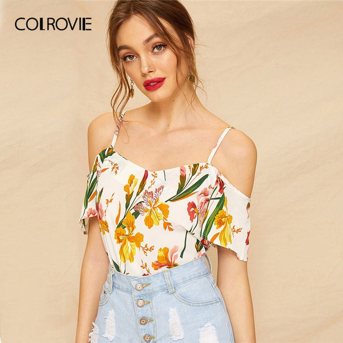 COLROVIE White Cold Shoulder Floral Print Boho Clothing Women Blouse Shirt