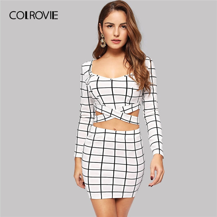COLROVIE White Cross Strap Long Sleeve Grid Plaid Top And Bodycon Skirt 2 Piece